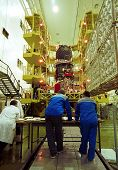 BAIKONUR COSMODROME, - OCTOBER 30: Russian space engineers piece together a Progress M1 spacecraft i