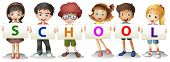 picture of playmate  - Illustration of the kids forming the school letters on a white background - JPG