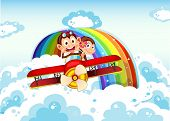 picture of float-plane  - Illustration of the playful monkeys riding on a plane near the rainbow - JPG