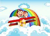 stock photo of float-plane  - Illustration of the playful monkeys riding on a plane near the rainbow - JPG