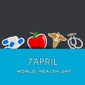 Abstract world heath day concept with medical icons on blue background.