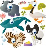 vector animal set: hippo, whale, zebra-fish, dog, pelican
