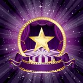 picture of broadway  - vector purple circle circus stage with golden star and blank banner  - JPG