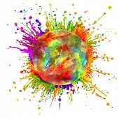 Super macro shot of colored paint splashes and powder