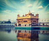 picture of sikh  - Vintage retro hipster style travel image of Sikh gurdwara Golden Temple  - JPG