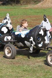 stock photo of hayride  - Child having fun on a farm ride - JPG