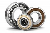stock photo of ball bearing  - Group of bearings isolated on white background 3D - JPG