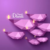 stock photo of diwali lamp  - Vector Polygonal Diwali Diya  - JPG