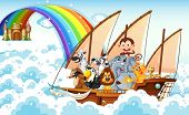 foto of ant-eater  - Illustration of many animals on a boat - JPG