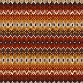 stock photo of knitting  - Nordic traditional Fair Isle style seamless pattern on the wool knitted texture - JPG