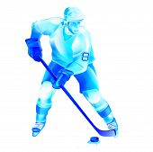 pic of bandy stick  - Colorful hockey man player attack - JPG