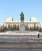 foto of lenin  - Monument to Lenin on Revolution Square in Krasnoyarsk - JPG