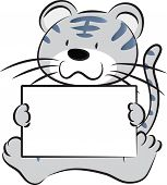 stock photo of cute tiger  - vector cartoon cute tiger holding blank paper - JPG