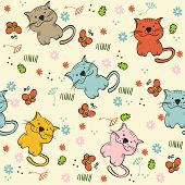 foto of baby cat  - babies hand draw seamless pattern with cats - JPG