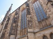 stock photo of leipzig  - Thomaskirche St Thomas Church in Leipzig Germany where Johann Sebastian Bach worked as a Kapellmeister and the current location of his remains - JPG