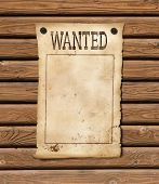 Wanted blank paper sheet. Wild west poster. poster