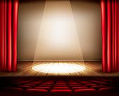 picture of curtains stage  - A theater stage with a red curtain - JPG
