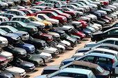 picture of scrap-iron  - several cars destroyed in the courtyard of the automobile junkyard - JPG