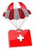 picture of parachute  - First Aid Case and Parachute on white background - JPG