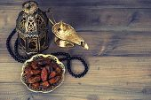 stock photo of arabian  - Dates arabian lantern and rosary - JPG