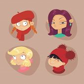 stock photo of teen pony tail  - cute illustrations of beautiful young girls with various hair style - JPG