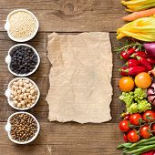 picture of legume  - Cereals legumes and vegetables on a wooden table - JPG