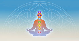 image of tantra  - Illustration of meditation with the seven chakras - JPG