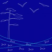 pic of flock seagulls  - Stylized sea landscape with pine tree several seagulls and school of fish - JPG
