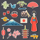 foto of japanese flag  - Japan icons and symbols set - JPG