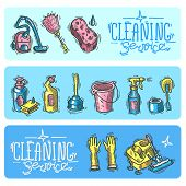 pic of cleaning service  - Beautiful hand drawn doodle banners cleaning service - JPG