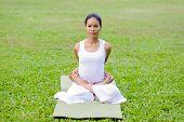 stock photo of padmasana  - Beautiful woman practicing yoga in the park - JPG