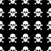 image of skull cross bones  - seamless pattern with skulls and bones - JPG