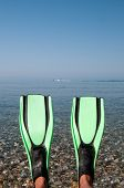 pic of fin  - Looking at a blue sea and some water skiers past a pair of fins  - JPG