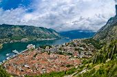 pic of yugoslavia  - The Kotor bay old city roofs and port - JPG