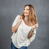 image of goofy  - casual young girl getting acting goofy at party - JPG
