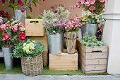 stock photo of flower shop  - Closeup display beautiful Flower Shop decorations design - JPG