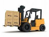 foto of forklift  - Forklift truck and box  - JPG