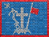picture of hydra  - flag of Hydra painted on brick wall - JPG