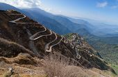 foto of curvy  - Beautiful Curvy roads on Old Silk Route Silk trading route between China and India Sikkim - JPG