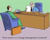 stock photo of change management  - Cartoon of businessman in interview - JPG