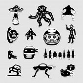 stock photo of webbed feet white  - Vector set of funny bizarre black and white stickers - JPG