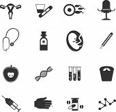 stock photo of gynecological  - set of medical icons gynecological executed in flat style - JPG
