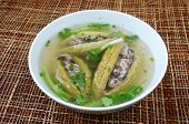 pic of bitters  - Vietnamese food soup of bitter melon stuffed with ground meat a nutrition popular dish in Vietnam - JPG