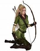 stock photo of archer  - Fantasy illustration of a blonde female elf archer with bow and arrows dressed in green and brown - JPG
