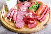 picture of cheese platter  - Catering platter with different meat and cheese products - JPG