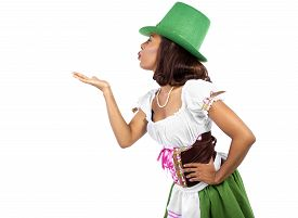 picture of st patty  - african american waitress dressed in st patricks day costume - JPG