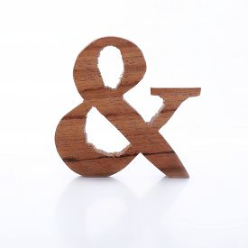 pic of ampersand  - English alphabet ampersand symbol wooden on white background - JPG