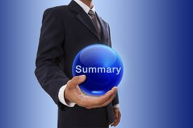 stock photo of summary  - Businessman hand holding blue crystal ball with summary word - JPG