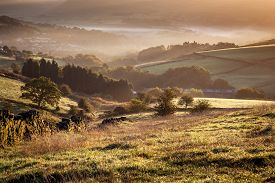 picture of glorious  - Beautiful English landscape in the glorious morning light at Diggle Greater Manchester England - JPG