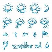 picture of windy weather  - Weather symbols set - JPG